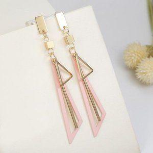 3/$20 Pink & Gold Triangle Dangle Earrings